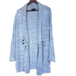 Grey Long Open Sweater Cardigan WOMANS XL